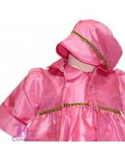 Compleu botez roz cu pardesiu