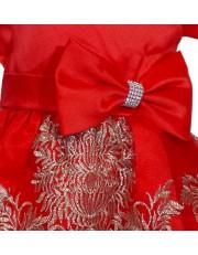 Rochie Craciunita rosu-auriu