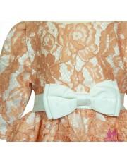 Rochie roz-bej cu maneca lunga
