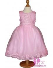Rochie roz cu floricele si dantela