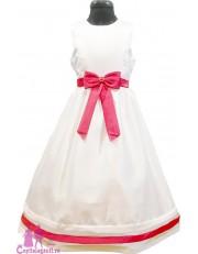 Rochie alba cu funda rosie
