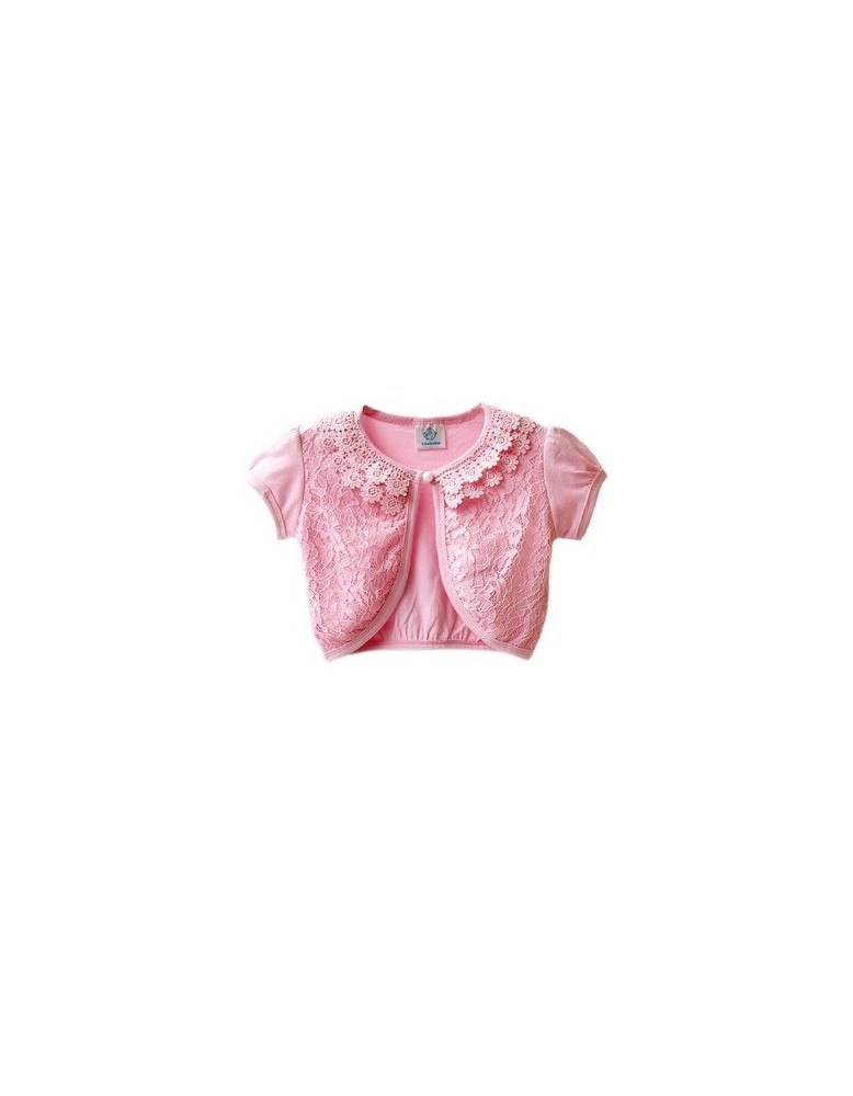 Bolero roz dantelat cu maneca scurta